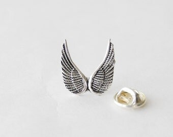 Wings Tie Tack, Wings Lapel Pin, Angel Wings Pin, Wing Tie Clip, Angel Gifts for Men, Mens Tie Pin Tack, Tie Clips Men, Memorial Tie Tack