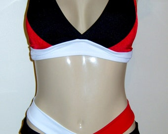 Tri- Color Bikini. Halter bikini.Women's bikinis.Swimwear.Halter swimsuits.Mix and match bathing suits.Custom.Double crisscross waist band.