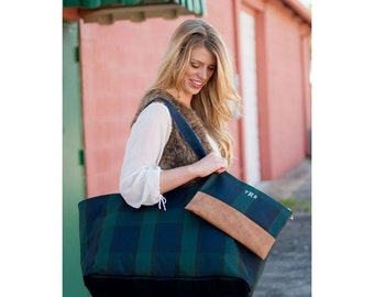 Monogrammed Plaid Carry-All Tote | Personalized Market Tote