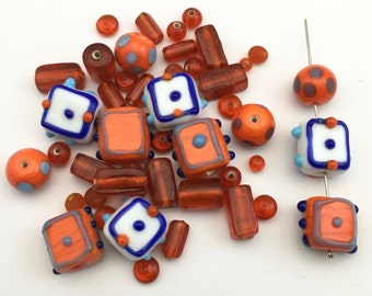 50 glass beads orange halloween mix,6mm to 17mm #PV 109
