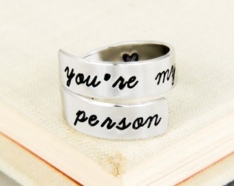 You're My Person Ring - Adjustable Aluminum Wrap Ring