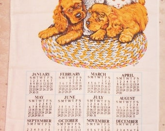 1984 Calendar Towel Kittens Puppies