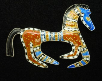 Colorful Horse Brooch Pin
