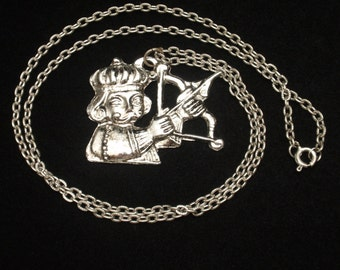Man Shooting Arrow Pendant Necklace from Italy
