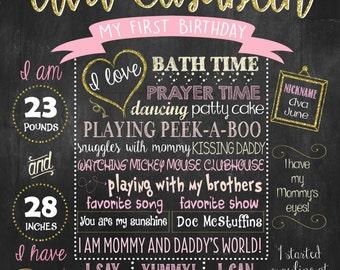 Pink Blush, Cream First Birthday Chalkboard Poster DIGITAL FILE