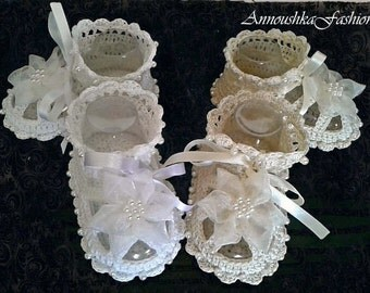 Crochet Baby shoes. Pearl baptism shoes.Handmade Christening baby sandal.Crocheted summer shoes.