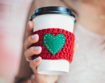 Maroon & Green Heart Coffee Tea Cozy Sleeve