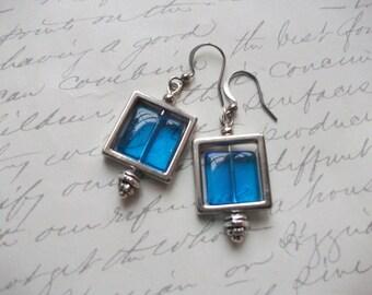 Blue glass tile earrings