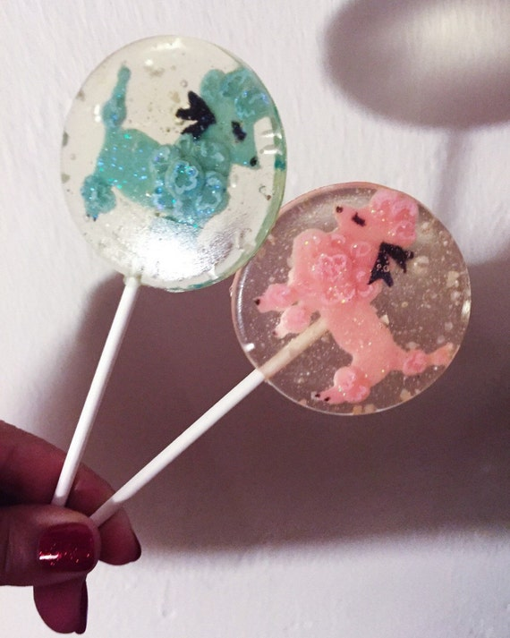 3 Sugar Cookie Flavored Fancy Sparkling Poodle Marzipan Lollipops