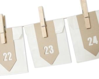 Advent Calendar Garland Set, White + Kraft Advent Bags, Countdown, Christmas Bunting Minimalist Christmas decoration Refillable DIY Craft