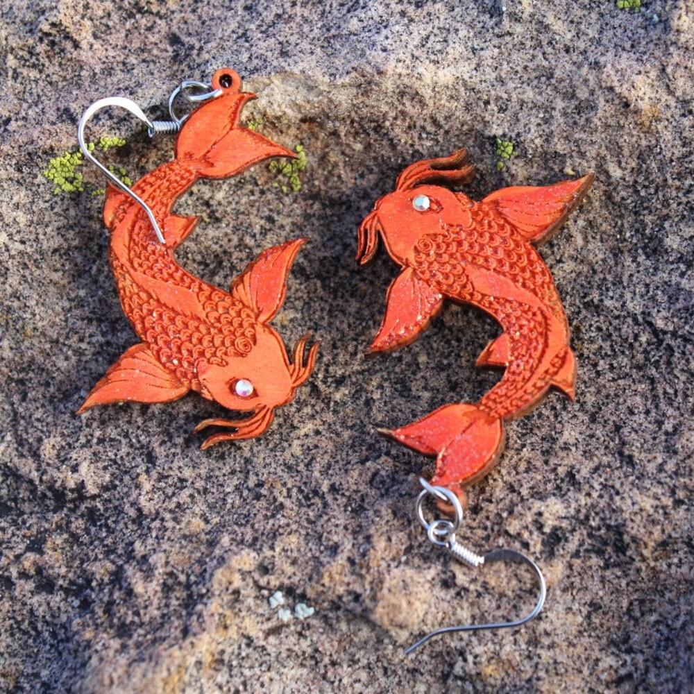 Wooden koi tattoo orange fish earrings for Orange koi fish