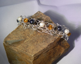 knitted wire bracelet, silver plated, beaded bracelet, one of a kind