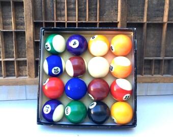 Vintage Boxed Set of Billiard Balls, Man Cave Decor