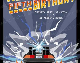 Back to the Future Birthday Party Invitation (BTTF PARTY) (5inx7in) (Set of 10)