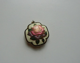 Pretty Cloissone Rose Pendant | flower