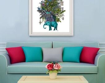 Elephant Art Print - The Birdcage - Elephant print elephant decor jungle animal surreal art fantasy art turquoise decor whimsical animal art
