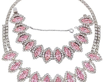 HTF Weiss Pink Panther Navette Prong-Set Rhinestone Necklace Bracelet Demi Parure Set