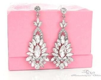 Art Deco earrings bridal jewelry, art deco rhinestone earrings, art deco jewelry, crystal earrings, vintage style wedding earrings  1408