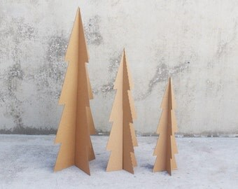 3 Modern Cardboard Trees 5ft, 4ft, and 3ft