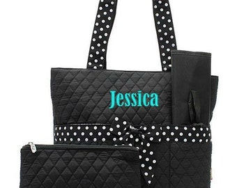 Monogrammed Black Diaper Bag White Polka Dot Quilted Personalized Embroidered Baby Tote