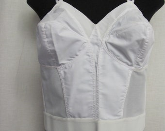 Longline Bullet Bra Exquisite Form Bra Cotton Bra Plus Size White Corset Full Figure Cotton Bra