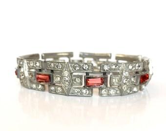Vintage Art Deco Rhinestone Bracelet, 30s Red & Clear Crystal Bracelet, Silver Paste Bangle, Antique Jewelry Wedding Jewelry Bridal Bracelet