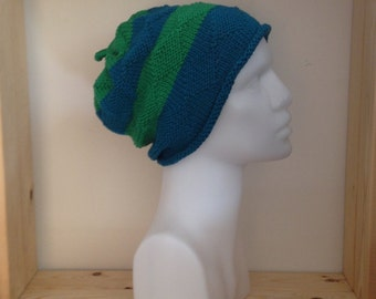 Aqua and Emerald Cotton Knitted Hat