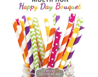HAPPY DAY BOUQUET Spring Flowers Multipack, Chevron, Dots, Vintage, 25 Straws, Orange, Hot Pink, Purple, Green, Yellow