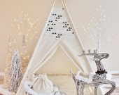 CREAM and Black Triangles Playhouse, Canvas, Tipi, Teepee, Play Tent, Play House, Nursery, Kids Teepee, Indoor