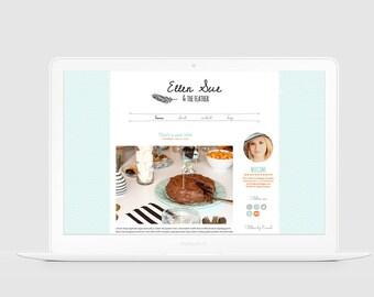 Cute WordPress Theme — Premade Wordpress Design — Girly Blog Template — Lovely Blog — Hand Drawn Feather Design — Food Craft Blog / Ellen