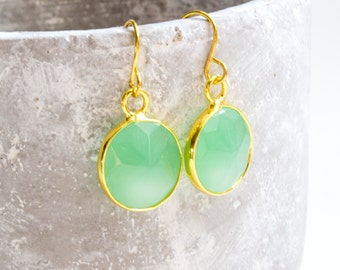 Gilded Stone Earrings-green