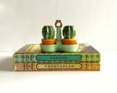 Vintage Cactus Salt and Pepper Shakers with Carrier