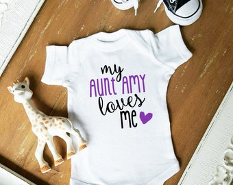 My Aunt Loves Me CUSTOMIZE NAME and Font Color Bodysuit by Simply Chic Baby Boutique
