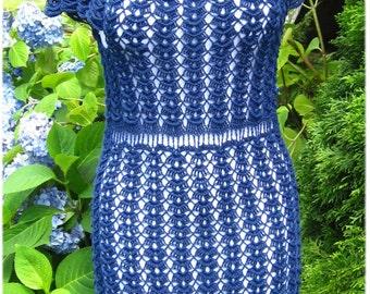 Crochet Dress Navyblue Hand made
