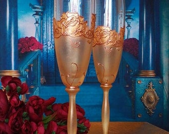 Set of 2 hand painted champagne flutes Golden roses with Swarovski crystals