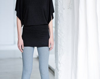 Boatneck Tunic Top /Short Sleeved Yoga Top / Black Tunic / Arya Tunic / Yoga Modern Black Loose Dress / Charcoal Dress by AryaSense /TTM13BM