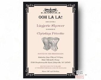 Vintage Lingerie Party Invitation - Vintage Lingerie Shower Invitation - Printable Lingerie Invitation - Pink Vintage Corset Invitation