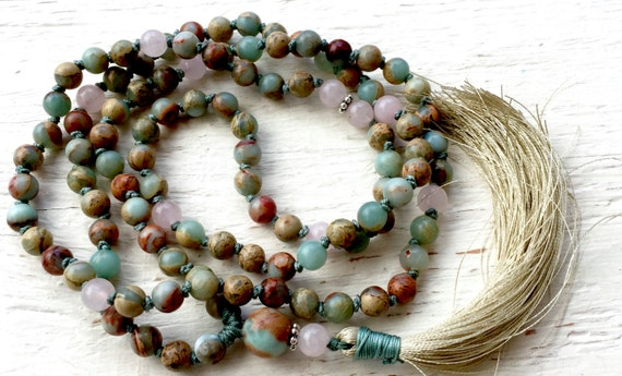 Mala Beads to Calm the Mind,  African Opal Mala Beads, Rose Quartz, Heart Chakra Mala, Yoga Jewelry, October Birthstone, Root Chakra