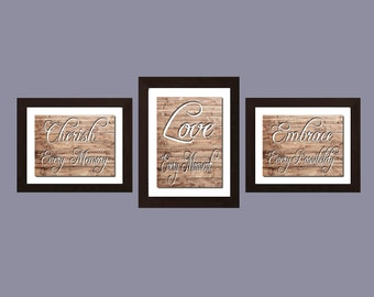 Cherish Love Embrace Kitchen Decor Kitchen Wall Art Shabby Chic Wall Art, Art  Dining Room