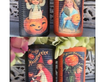 2 Victorian Vintage Style Halloween Decoupage Black & Orange Tin Can Vases Decoration Table Centerpieces Children Pumpkin Party Favors Gift
