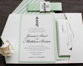 Lighthouse with Heart Wedding Invitation -Beach, Waterfront Theme - Mint, White, Black