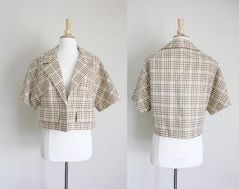 1950s Swing Jacket | Wool Blazer | Houndstooth Blazer | Striped Bolero | Cream Blazer | Medium | Junior Sophisticates