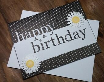Cute black & white polka dot and daisy Birthday Card