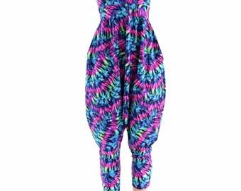 Tank Style Drop Crotch Harem Jumpsuit in Neon UV Glow Tie Dye Festival Onsie Romper Playsuit 152438