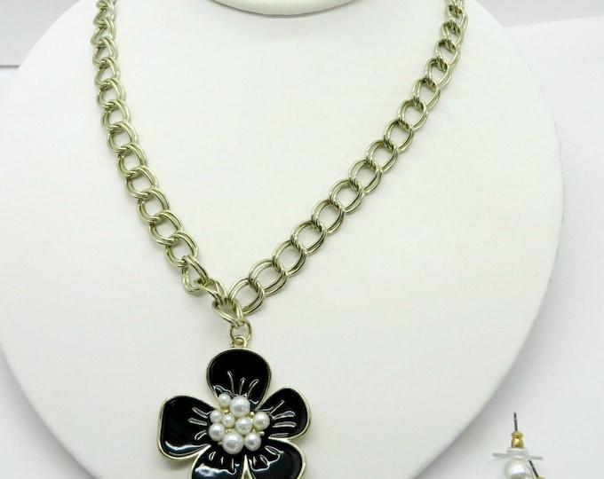 Anne Klein Necklace Earrings Set, Vintage Blue Enamel Flower Necklace Faux Pearl Pierced Stud Earrings