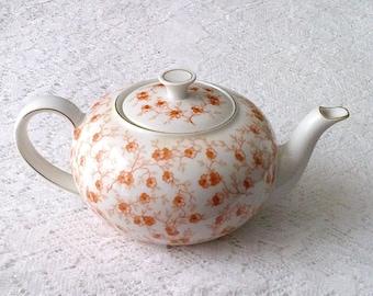Vintage Ult Gchonwald White & Orange Floral Print China Tea Pot - Made in Germany