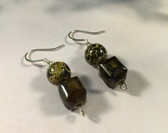 Olive Green and Chocolate Brown Small Dangle Earrings