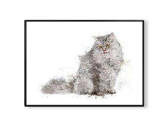 SALE! Dorm wall art, dorm decor, Cat grey Watercolor Print, cat art, cat print, cat watercolor, animal, cat poster, animal print, WT12