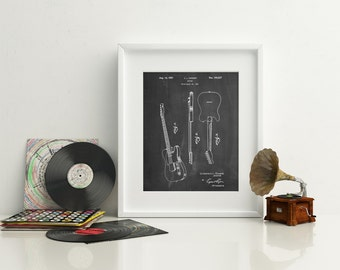 Fender Broadcaster Electric Guitar Patent Poster, Fender First Guitar, Vintage Guitar, Guitar Wall Art, Fender Stratocaster, PP0121