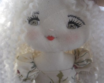 Romantic and angelic girl doll, handmade rag doll, cloth doll, fabric doll, art doll. Ready to ship.
